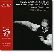 브람스 : 교향곡 3번 /  베토벤 : 교향곡 7번 (1956년 라이브) - 오토 클렘페러
