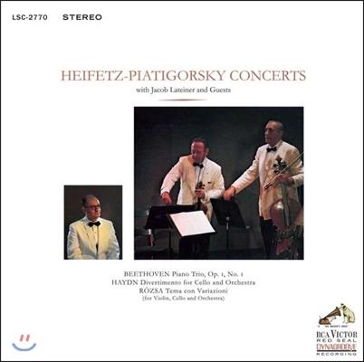 Jascha Heifetz / Gregor Piatigorsky 베토벤: 피아노 삼중주 / 하이든: 첼로 디베르티멘토 / 로자: 변주곡 (Beethoven: Piano Trio Op.1 No.1 / Haydn: Divertimento / Rozsa: Tema Con Variazioni)
