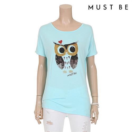 비즈장식 펄나염 다이마루 티셔츠 (MHME902RP1)