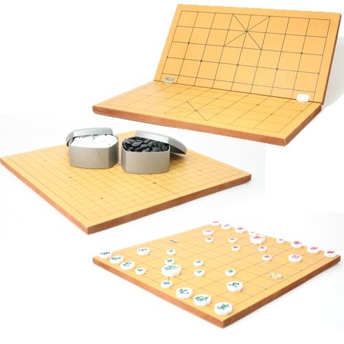 [고품질 국내산 접판]바둑판 장기판 겸용(15mm) + 정석 바둑알세트 + 장기알세트