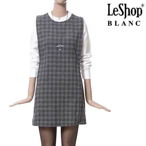 [Leshop BLANC] 셔츠 레이어드 체크 원피스 LG (LFBOPB50)