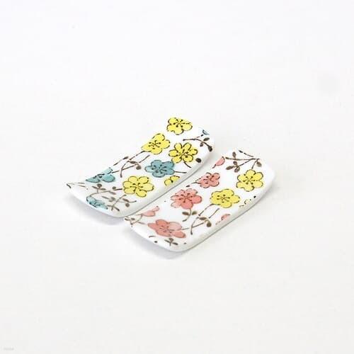 일본수저받침 도자기 숟가락 젓가락 받침 컬러플라워