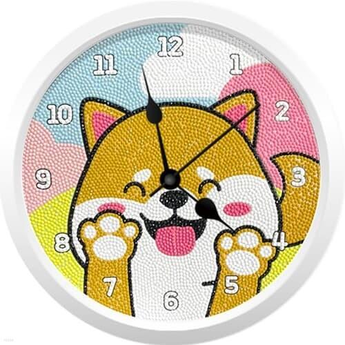 기분 좋은 시바 강아지(벽시계) 보석십자수 23.5x23.5