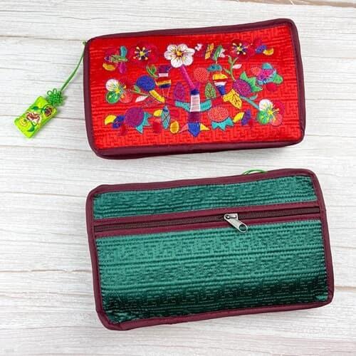 전통 꽃 디자인 지갑 여성 파우치