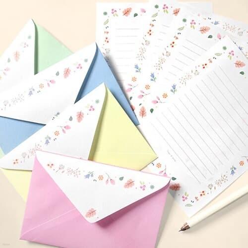 수채화 플라워 편지지 4종세트(편지지16장+봉투8장)