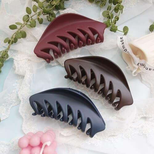 감성 낙엽 만두 무광 올림머리 헤어 집게핀(10colors)
