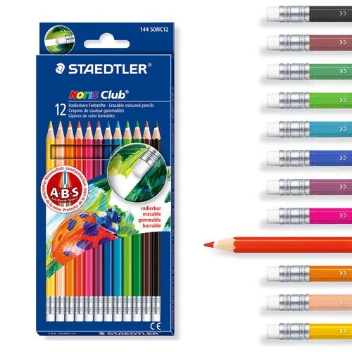 [YES24총알배송] 스테들러144 50NC12 노리스클럽 지워지는 색연필 12색