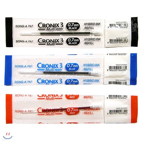 [알앤비]동아연필 CRONIX3 크로닉스3 멀티펜 0.7mm 리필심/Refill