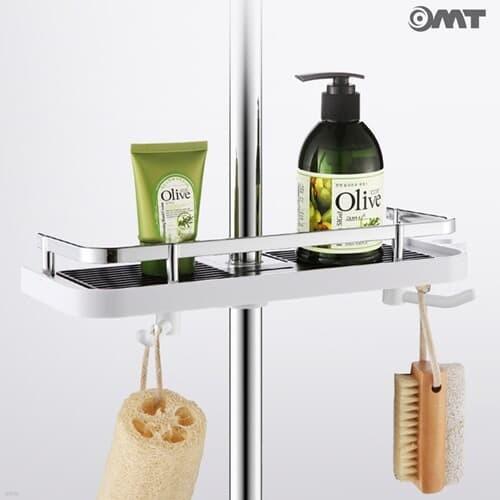 샤워봉 부착 욕실 수납 선반 다용도걸이 물빠짐내장 2color