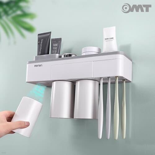 벽걸이 욕실 자석부착 컵홀더+수납함+칫솔걸이 2단 선반 세트